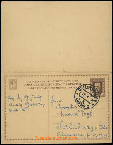 216369 - 1930 CDV34, double PC abroad T. G. Masaryk 1,20CZK brown, un