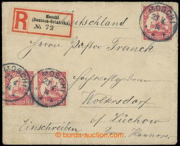 216415 - 1914 DEUTSCH OSTAFRIKA / R-dopis do Německa, vyfr. 2-pásko