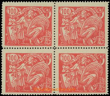 216528 -  Pof.173A I, 100h červená, 4-blok, ŘZ 13¾, I. typ; luxus