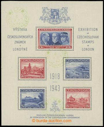 216944 - 1943 AS1, Londýnský aršík, 3x otisk zeleného PR CZECHOS