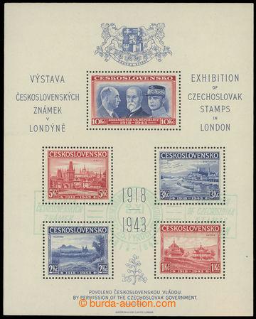 216945 - 1943 AS1, Londýnský aršík, otisk zeleného raz. PR VÝST