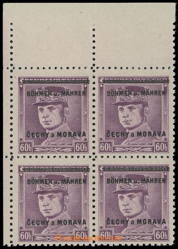 216947 - 1939 Pof.8 PH, Štefánik 60h fialová, levý horní rohový