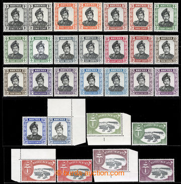 217116 - 1952-1958 SG.100-113, Sultán Omar, 1C - $5, 2x kompletní s