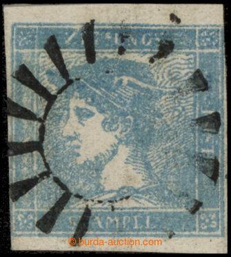 217339 - 1851 Ferch.6Ib, Modrý Merkur, rýhovaný papír, s celým v