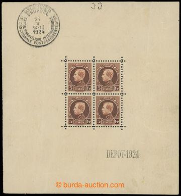 217406 - 1924 Mi.186Klb, aršík 4x 5Fr Albert I., bezvadný blok s p