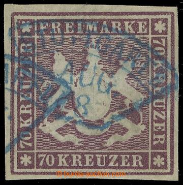 217415 - 1873 Mi.42a, Znak 70Kr braunlila, modrá raz. STUTTGART; nep