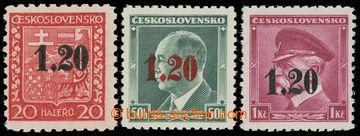 217457 - 1938 ASCH / Mi.3-5, přetiskové Znak 20h, Beneš 50h a TGM