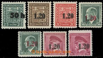 217463 - 1938 ASCH / Mi.1i-3, 4a (2x), 5 (2x), Znak 50h/25h I. typ -