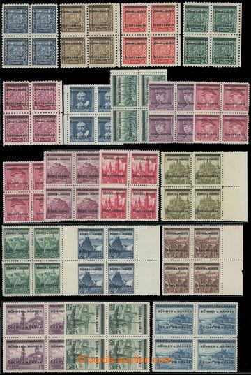 217467 - 1939 Pof.1-19, Přetisková emise ve 4-BLOCÍCH, převážn�