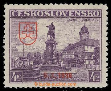 217474 - 1939 BAZOVSKÉHO PŘETISK / ZT  Poděbrady 4Kč s přetiskem