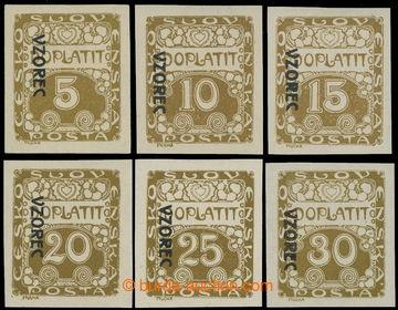 217615 - 1919 Pof.DL1vz-DL6vz, Ornament 5h - 30h s přetiskem VZOREC
