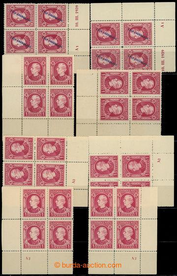 217643 - 1939 Sy.23 a 30, Hlinka 1K s přetiskem a bez přetisku, kom