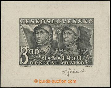 217706 - 1950 ZT Pof.555, Den čs. armády 3Kčs, zkusmý otisk defin
