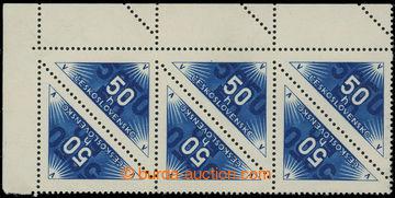 217746 - 1937 Pof.DR1B, hodnota 50h modrá, rohová 8-páska s výraz