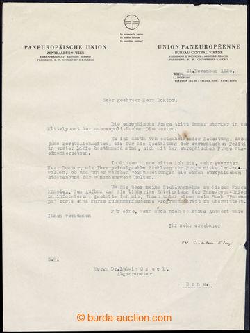 217807 - 1928 COUDENHOVE-KALERGI Richard (1894-1972), Austrian noblem