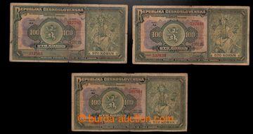 217825 - 1920 Ba.16b, 100Kč, sestava 3 bankovek, série Ao, Ap a As;