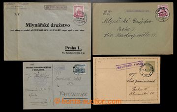 217855 - 1939-1940 sestava 4ks celistvostí s razítky poštoven, DOL