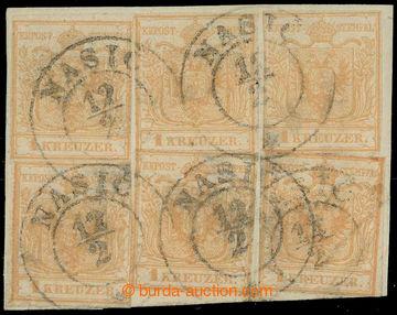 217917 - 1850 Ferch.1HIa, 6x Znak 1Kr hnědo-oranžová, typ Ia na ru