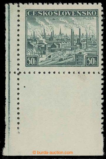 218024 - 1939 DOTISKY / Pof.344, Plzeň 50h zelená, levý dolní roh