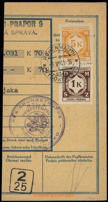 218059 - 1941 VLÁDNÍ VOJSKO - PRAPOR 9  celé kruhové fialové raz