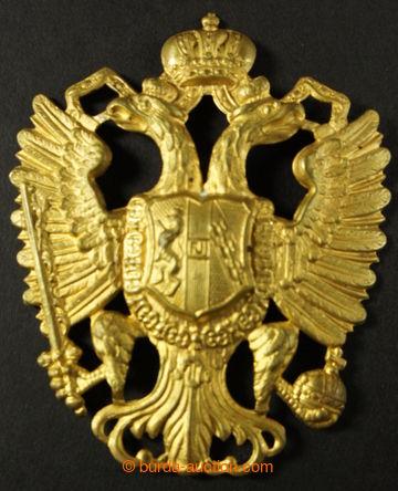 218098 - 1890- RU / Přilbový odznak - dvouhlavá orlice, pozlacený