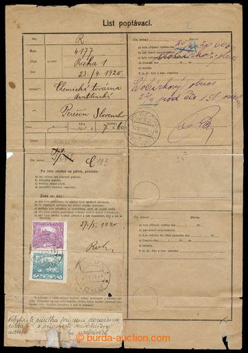 218139 - 1920 PEREČÍN / formulář List poptávací na zásilku z P