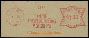 218142 - 1936 CHUST / výstřižek s otiskem frankotypu Okresní nemo