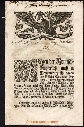 218308 - 1747 MARKRABSTVÍ MORAVSKÉ / BRNO / kaligrafická tištěn�