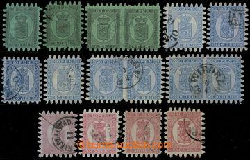218444 - 1866 Mi.6, 8, 9, sestava 16ks Znak velké zuby, typy B a C,