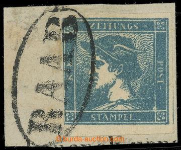 218474 - 1851 Ferch.6Ib, Modrý Merkur Ib geripptes papír, vlevo tě