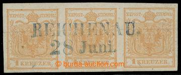 218475 - 1850 Ferch.1HIa, 3-páska Znak 1Kr hnědooranžová s modrý
