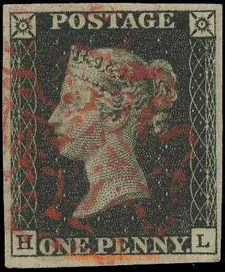 218566 - 1840 SG.2, Penny Black černá, TD 7, písmena H-L; bezvadn�