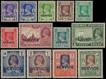 218572 - 1939 SG.O15-O27, Služební Jiří VI. 3Ps-10Rs, přetisky S