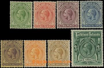 218719 - 1921-1928 SG.73-80, Jiří VI. ½P - 3Sh, průsvitka Mult Sc