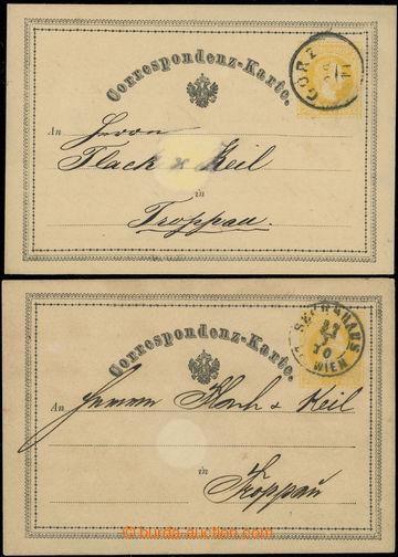 218734 - 1870 Ferch.1, žluťásek 2Kr, I. vydání 1869, 2ks s různ