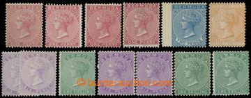 218784 - 1865-1903 SG.1-11, Viktorie 1P - 1Sh, sestava 13 známek z u