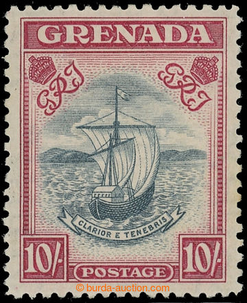 218791 - 1938-1950 SG.163c, Sailing Ship 10Sh, perf 12; toned, c.v..