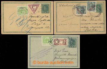 218916 - 1918-1919 CPŘ3 + CPŘ3Pb, sestava 3ks dopisnic 8h Karel, 1k
