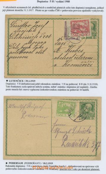 218922 - 1919 CPŘ  neplatná rakouská dopisnice 5h FJI/1908, 2ks, 1