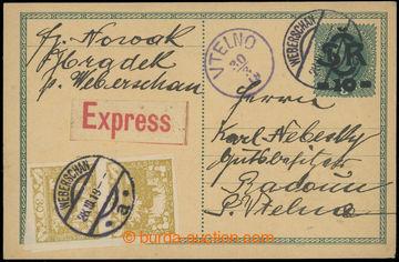 218927 - 1919 CDV1, Velký monogram - Karel 10/8h, přetisková dopis