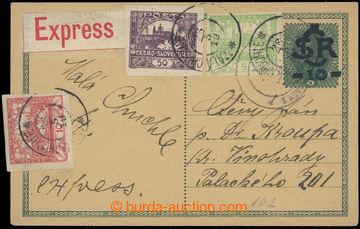 218928 - 1919 CDV1, Velký monogram - Karel 10/8h, přetisková dopis