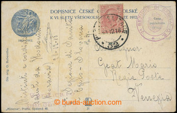 219058 - 1918 POSTA MILITARE 52 s tečkami, sokolská pohlednice vyfr