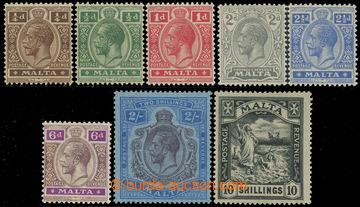 219085 - 1921-1922 SG.97-104, Jiří V. ¼P - 10Sh, průsvitka Mult S