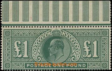 219109 - 1902 SG.266, Edvard VII. £1 tmavě modrozelená, velmi pěk