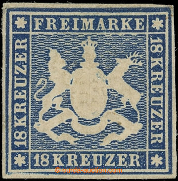219150 - 1859 Mi.15, Coat of arms 18Kr blue; unused piece with wide m
