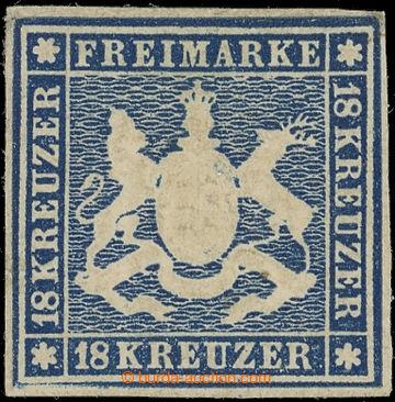 219150 - 1859 Mi.15, Znak 18Kr modrá; neupotřebený exemplář s pl