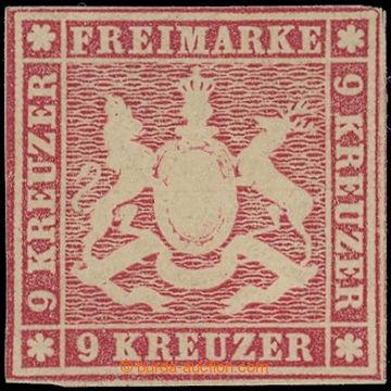 219152 - 1857 Mi.9a, Znak 9Kr karmínová; pěkný neupotřebený exe
