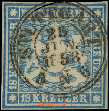 219154 - 1857 Mi.10, Znak 10Kr modrá s DR STUTTGART; kat. 1.600€,