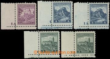 219257 - 1932 Pof.265-267 DČ, Hrady 3,50Kč - 5Kč, sestava 5 rohov�