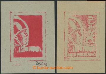 219342 -  ZT  2x kamenotisk předlohy návrhu známky PŘILBA 5K od a